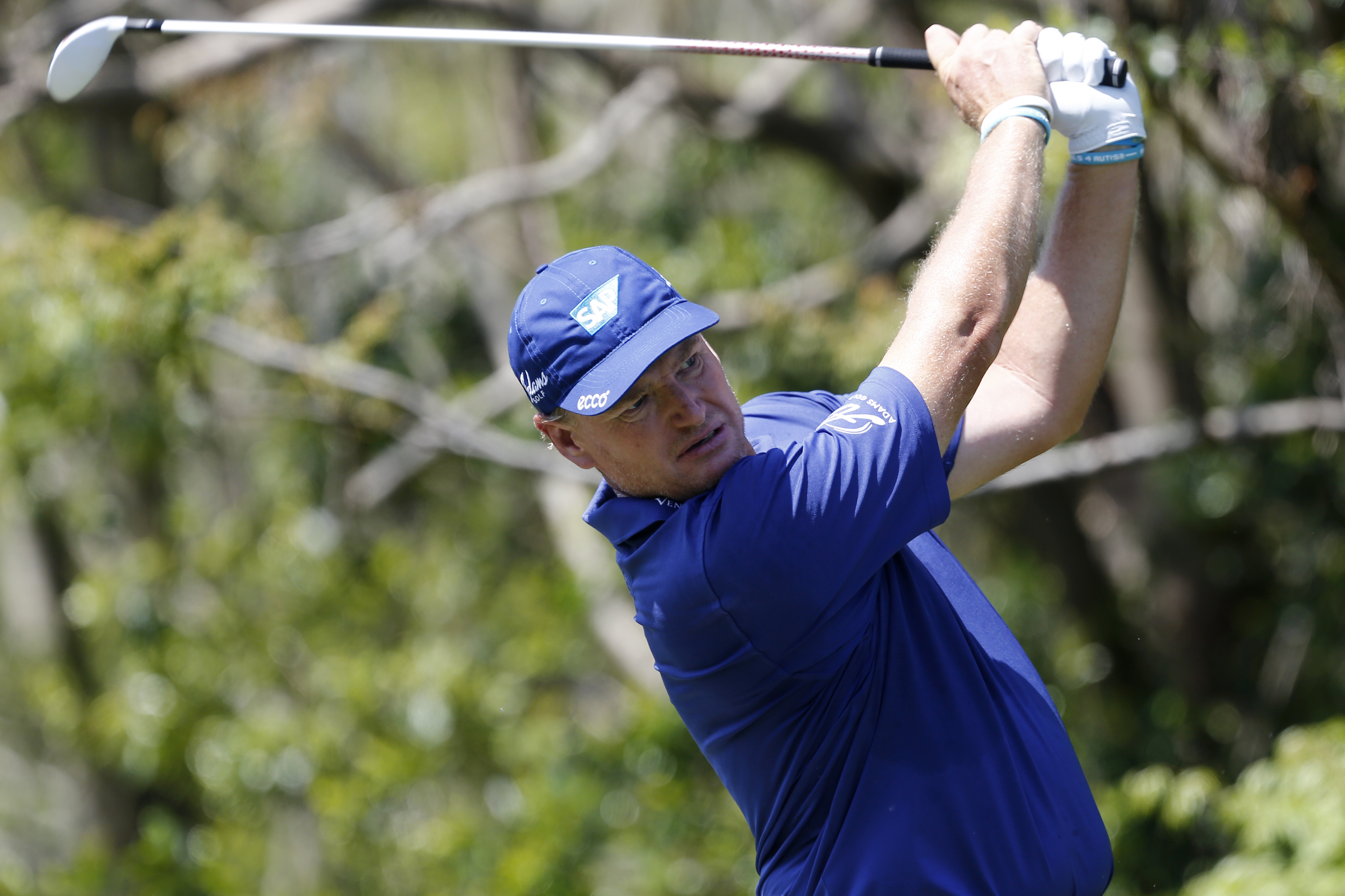 Ernie Els, of South Africa, tees off on the third hole during the third round of the Arnold Palmer Invitational in Orlando, Fla., on March 21, 2015.