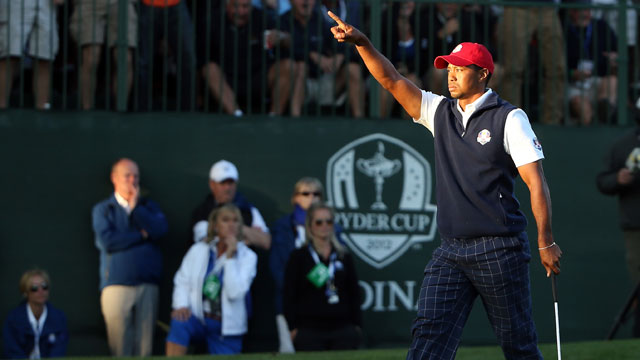 Tiger Woods on Day 1 Four-Ball Session in the 2012 Ryder Cup.