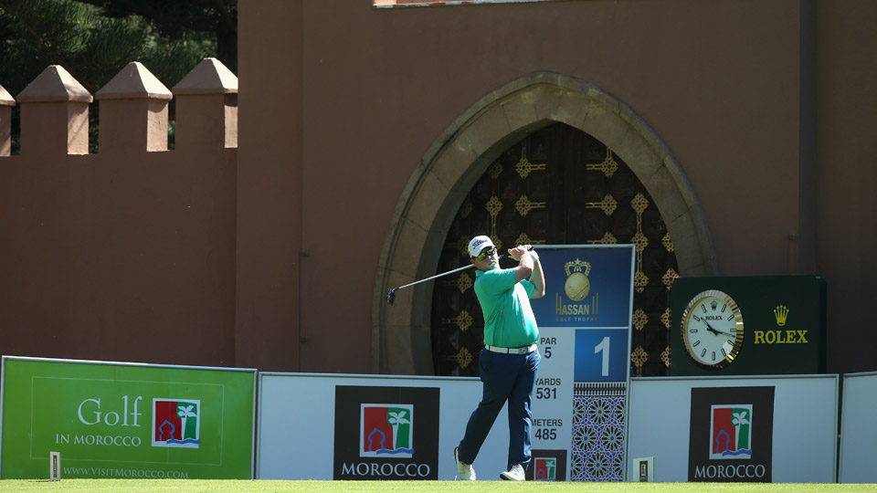 George Coetzee hits off the first tee on Thursday.