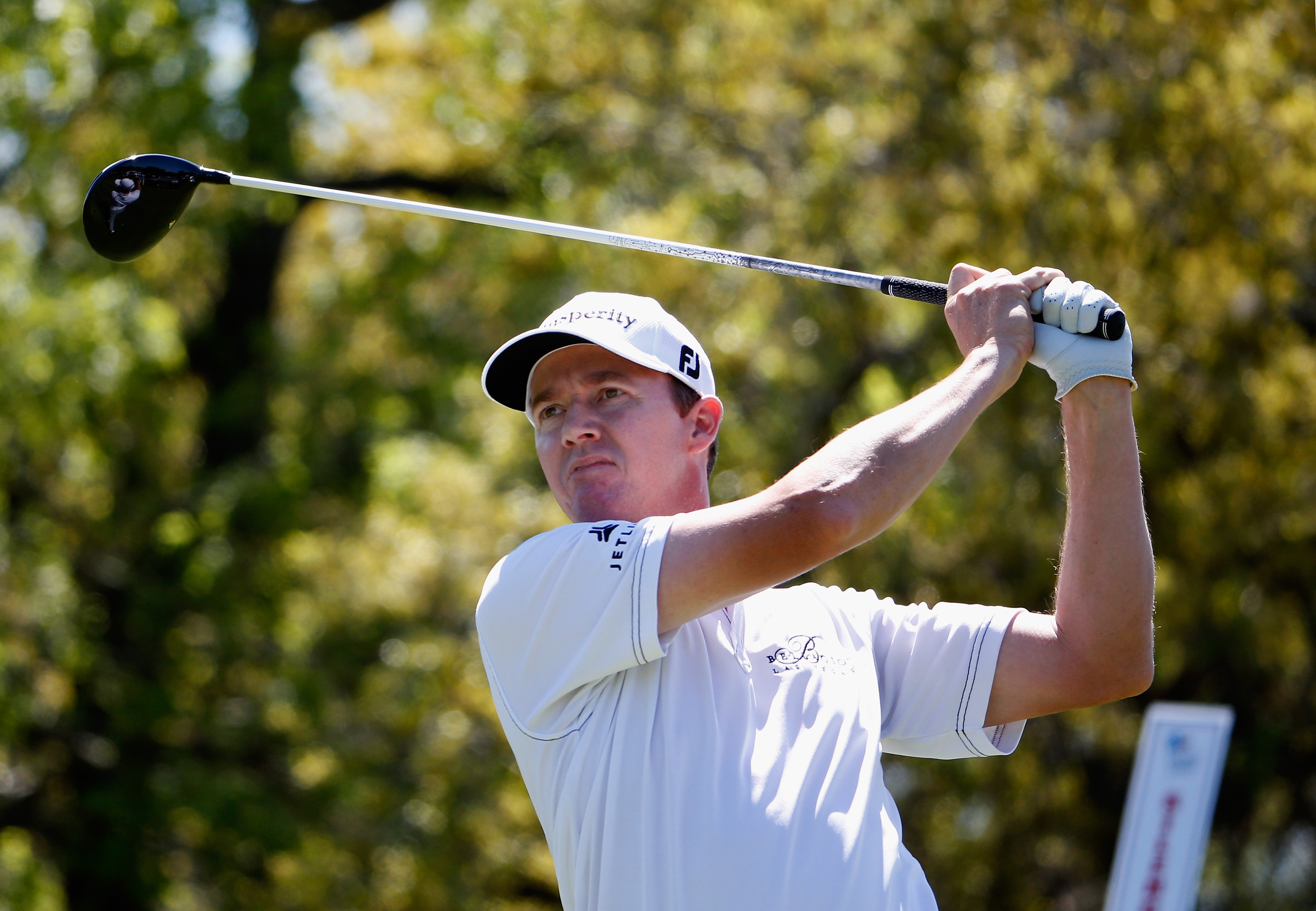 Jimmy Walker tees off on the ninth hole during the second round of the Valero Texas Open at TPC San Antonio.