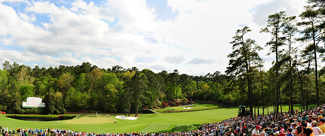 "The 11th green and 12th hole at Augusta National, aka ""Amen Corner."""