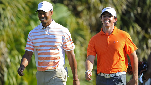 Tiger Woods and Rory McIlroy during the 2013 WGC-Cadillac.