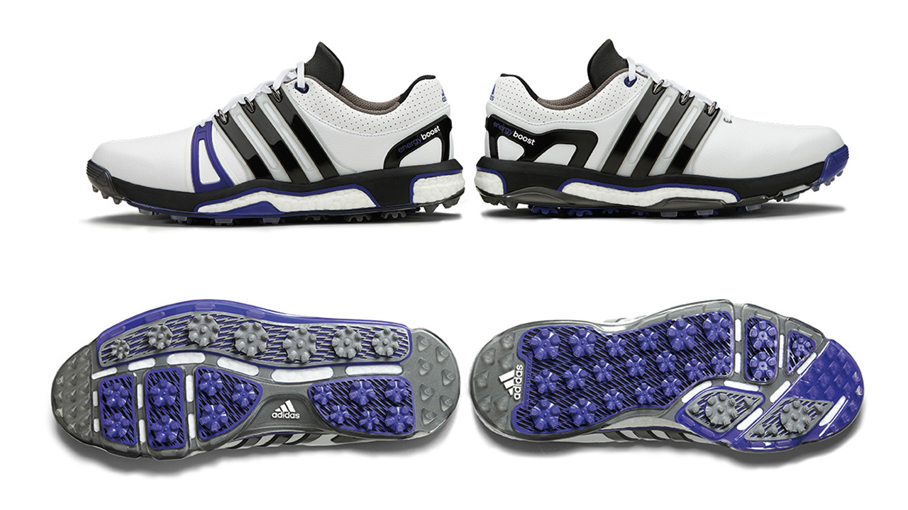 An external heel counter enhances lateral stability while full-length boost midsole foam returns energy to the foot with every step while also providing added cushioning. For in-swing stability the TPU outsole is fitted with gripmore traction elements in