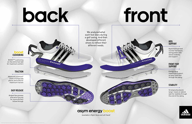 Using biomechanical analysis engineers at adidas Golf found significant differences in the forces placed on each foot during the swing and designed the shoes to perform optimally for both right and left-handed players.