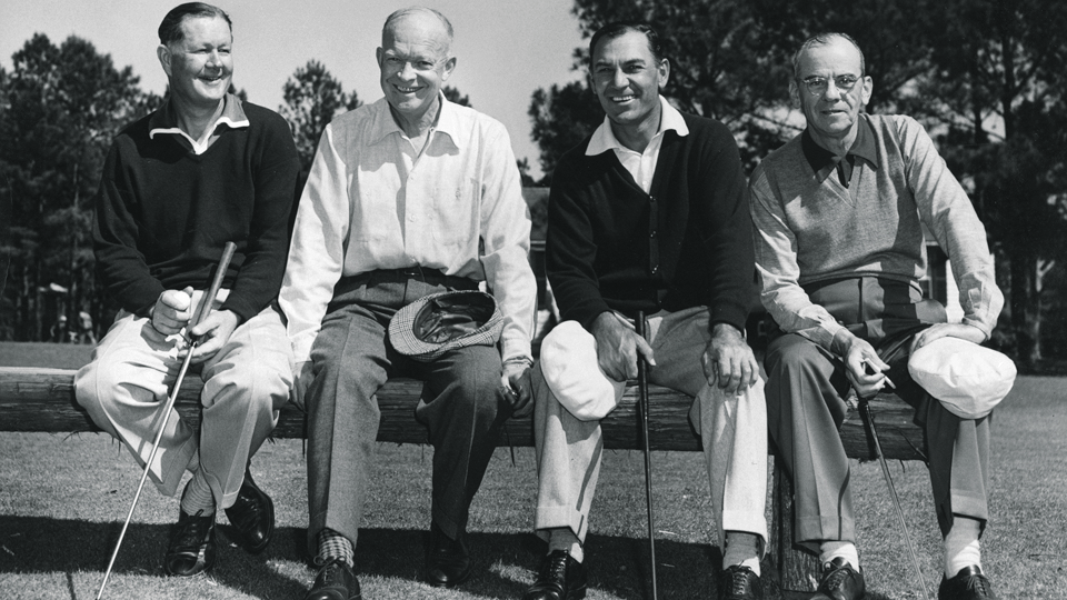 Eisenhower (second from left) was a regular at the National. In 1953 he teed it up with (from left) Byron Nelson, Ben Hogan and Roberts.