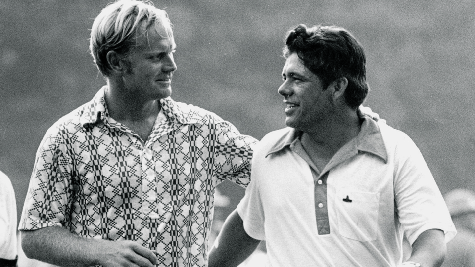 Jack Nicklaus (left) was edged by Lee Trevino at the 1971 U.S. Open and again at the 1972 British Open.