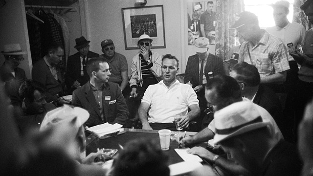 Arnold Palmer (center) chats with media during the 1960 Masters.