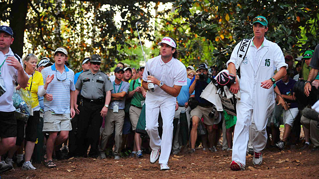 Bubba Watson watches his now-famous hook shot during the playoff at the 2012 Masters.