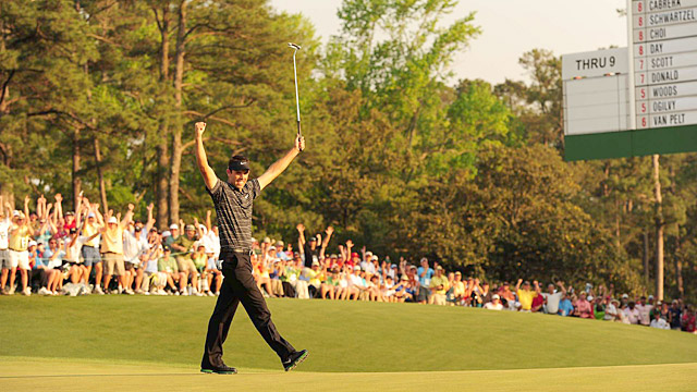 Charl Schwartzel celebrates after making birdie on the final four holes to win the 2011 Masters.