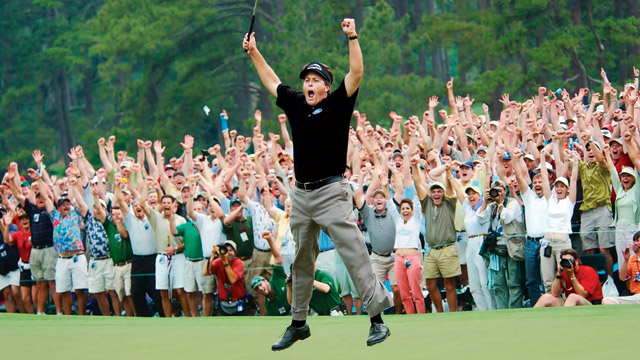 Phil Mickelson after making birdie at 18 to win the 2004 Masters.