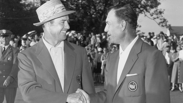 Sam Snead (left) and Ben Hogan shake hands after finishing tied through the first 72 holes at the 1954 Masters.