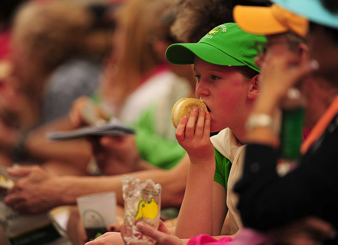 A young patron enjoys one of Augusta's coveted ice cream sandwiches.