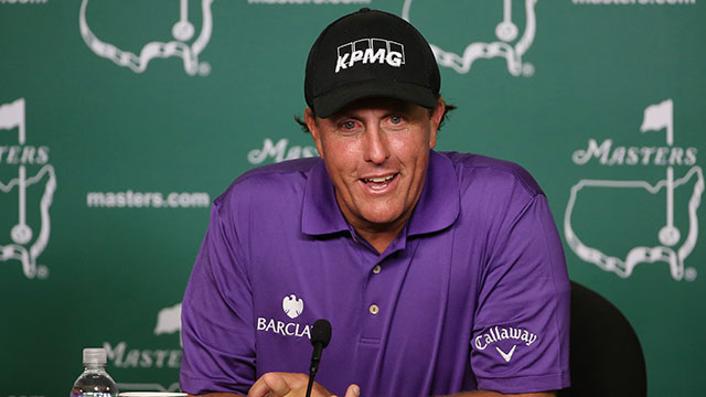 Phil Mickelson speaks after his Tuesday practice round at Augusta National.