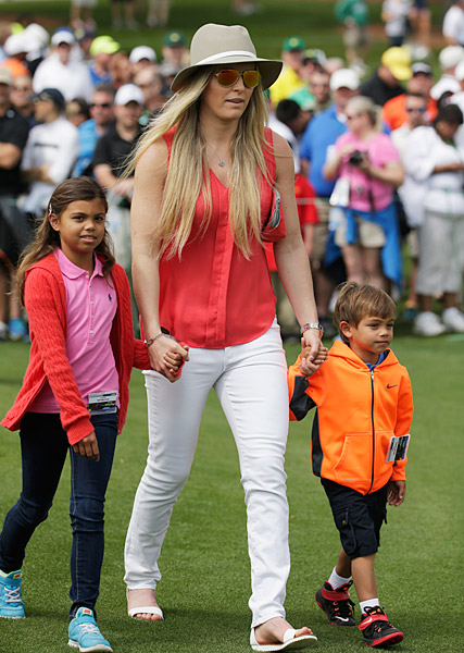 Tiger's girlfriend, pro skier Lindsey Vonn, played chaperon to the Woods children at Augusta.