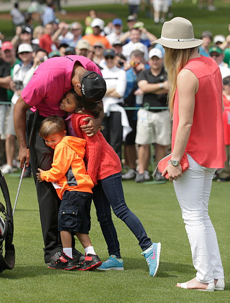 Woods children, daughter Sam and son Charlie, showed up at Augusta on Tuesday.