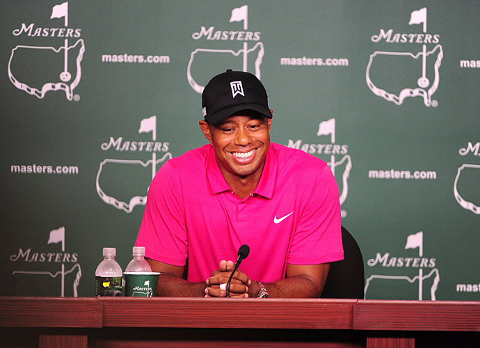 Tiger Woods was all smiles during his press conference on Tuesday at Augusta National.