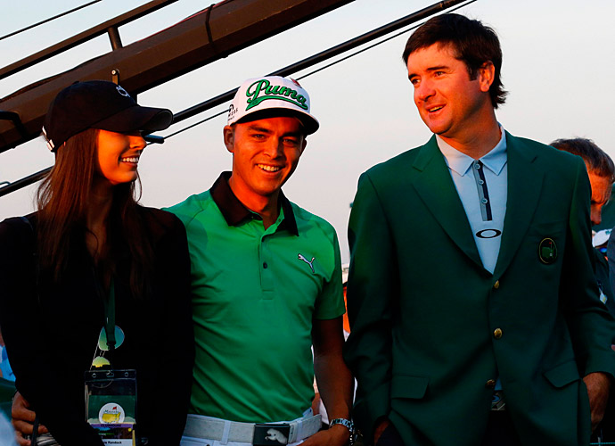 Rickie Fowler and Bubba Watson showed up to watch the Big Three's shots.