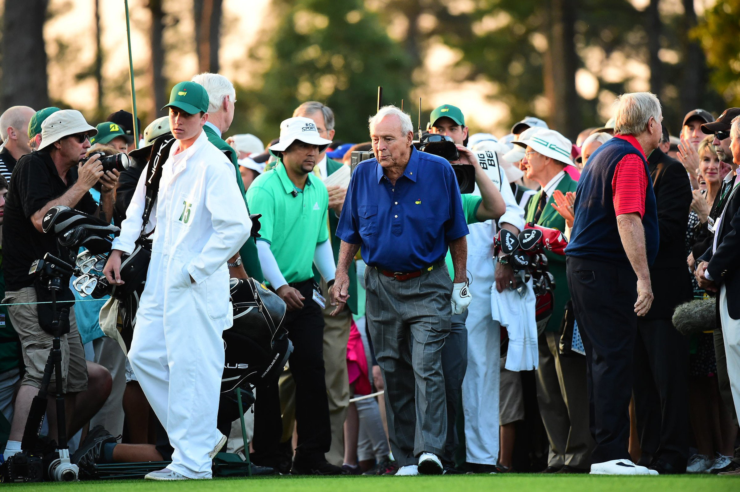The King arrives at Augusta National Thursday morning for the ceremonial Masters tee shot.