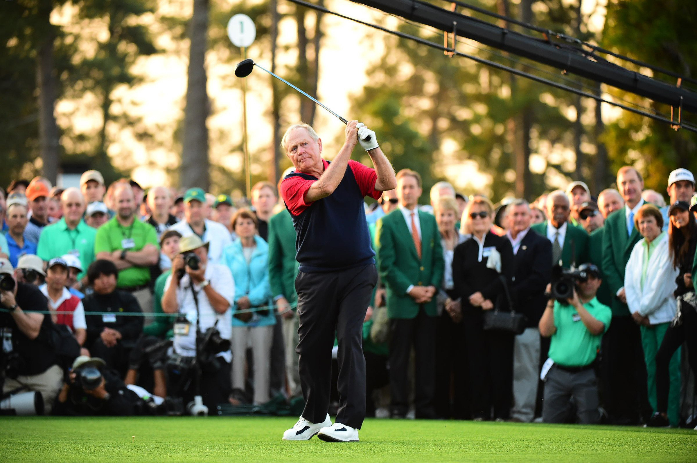 Jack Nicklaus says the Big Three are still competitive about who hits the longest tee shot. Player had the slight edge on Thursday.