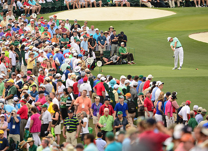 Ernie Els tees off in front of massive crowds during the second round.
