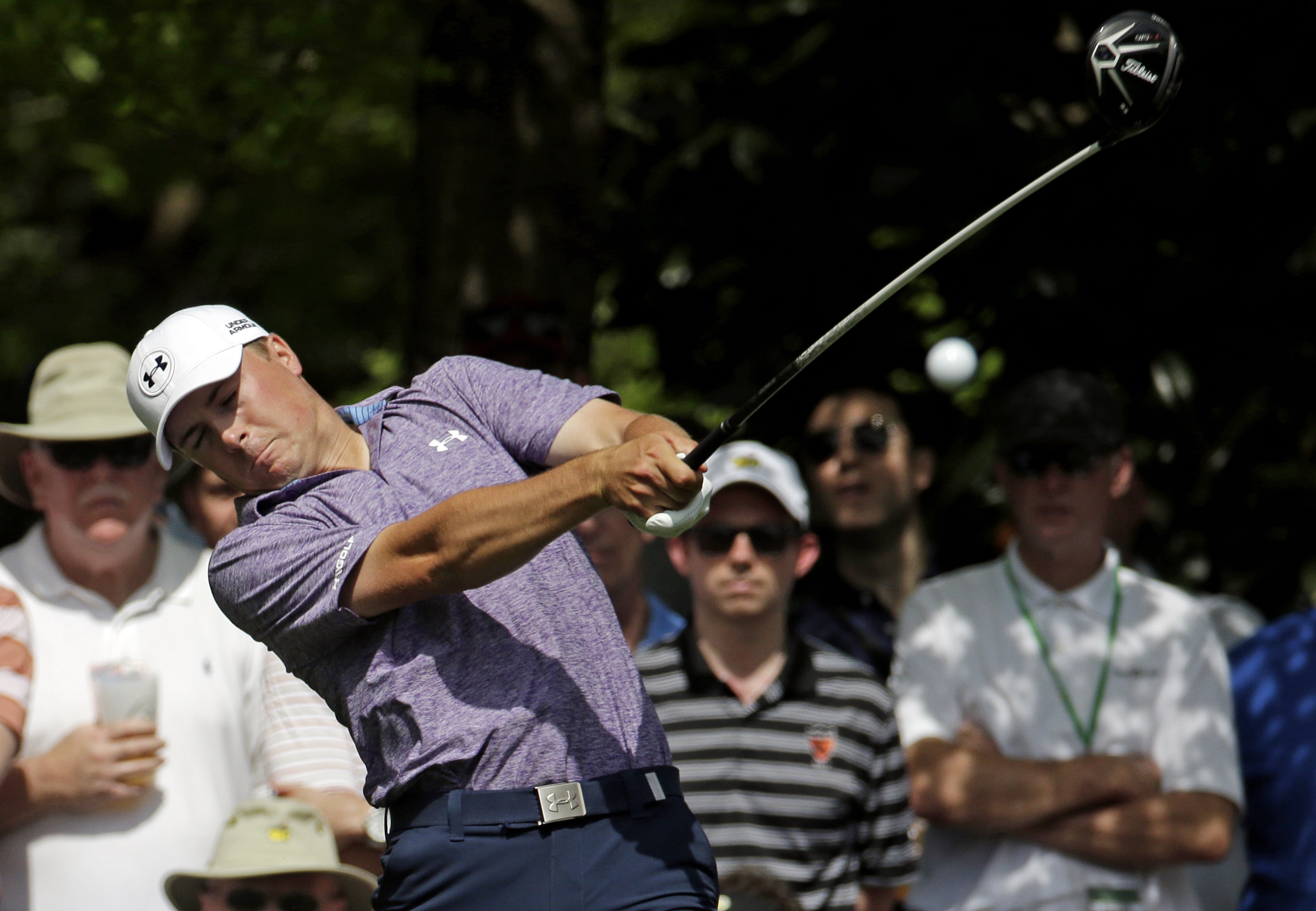 Jordan Spieth tees off on the seventh hole during the second round of the Masters golf tournament Friday, April 10, 2015, in Augusta, Ga. (AP Photo/Charlie