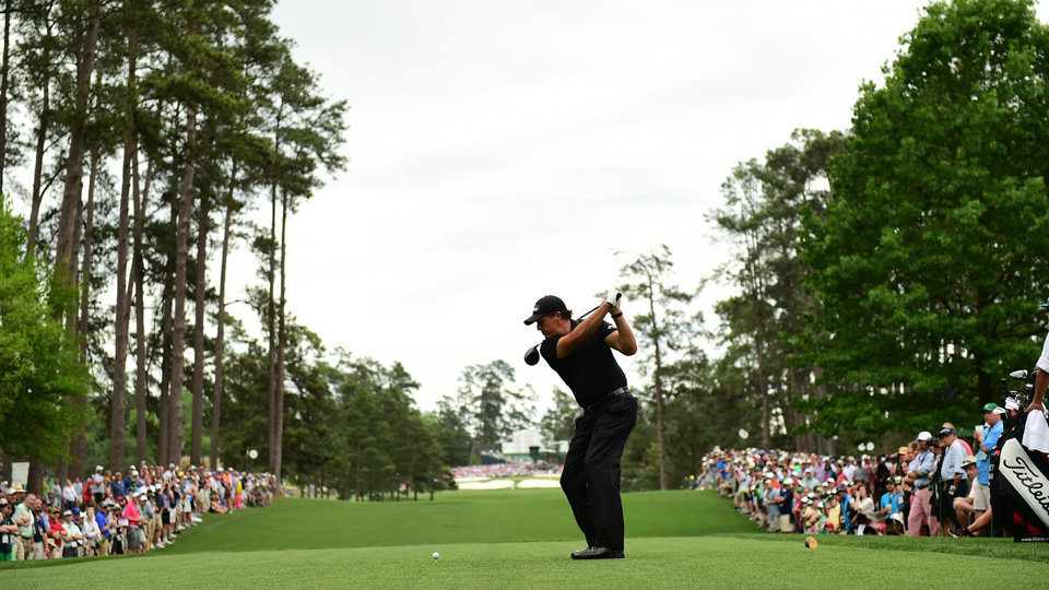 Phil Mickelson tees off on the seventh hole during the final round of the Masters on April 12, 2015.