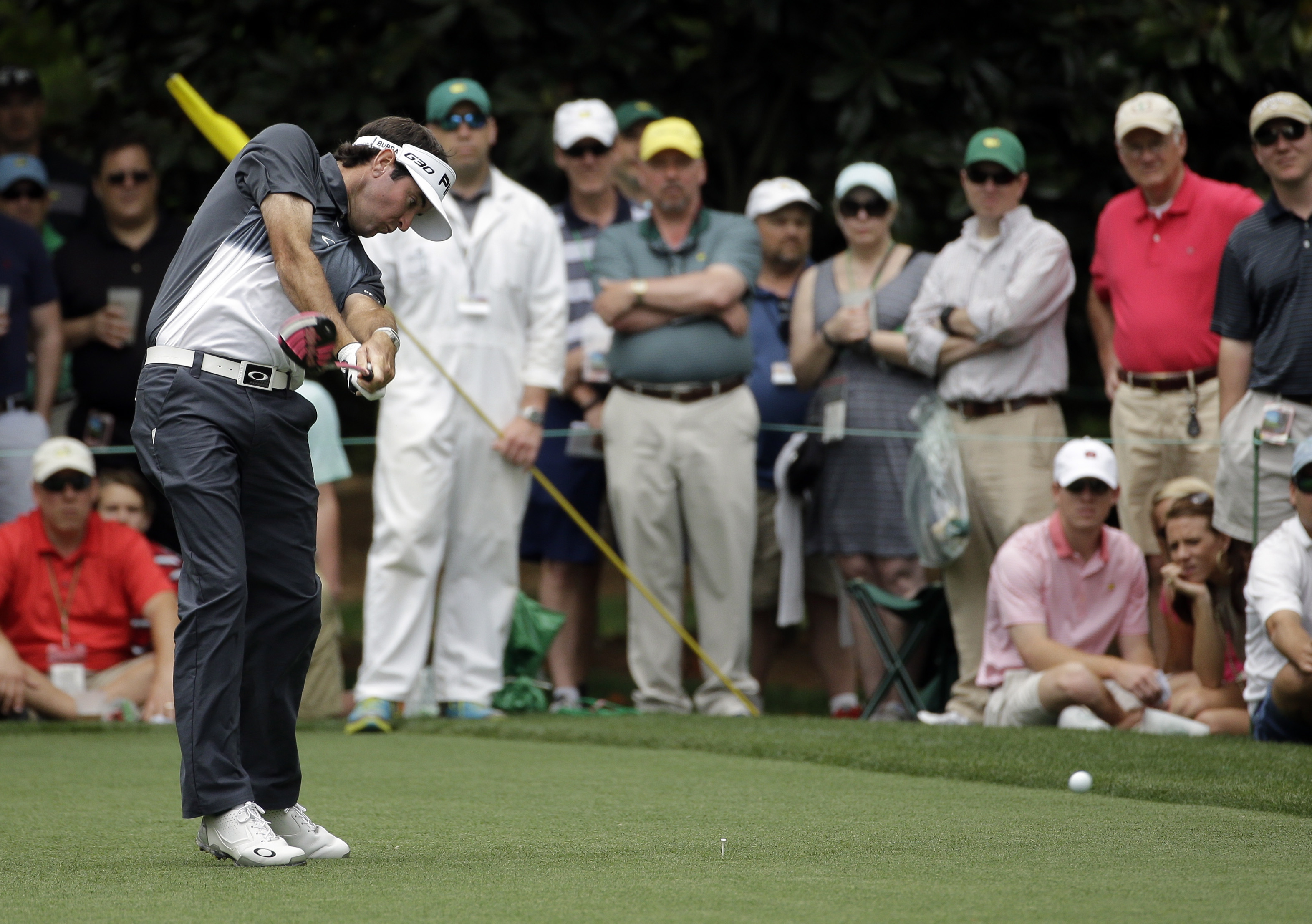 Bubba Watson tees off on the seventh hole during the fourth round of the Masters golf tournament Sunday, April 12, 2015, in Augusta, Ga. (AP Photo/Matt