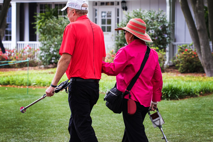 Kultida Woods, mother of Tiger Woods, walks the grounds Sunday at Augusta.