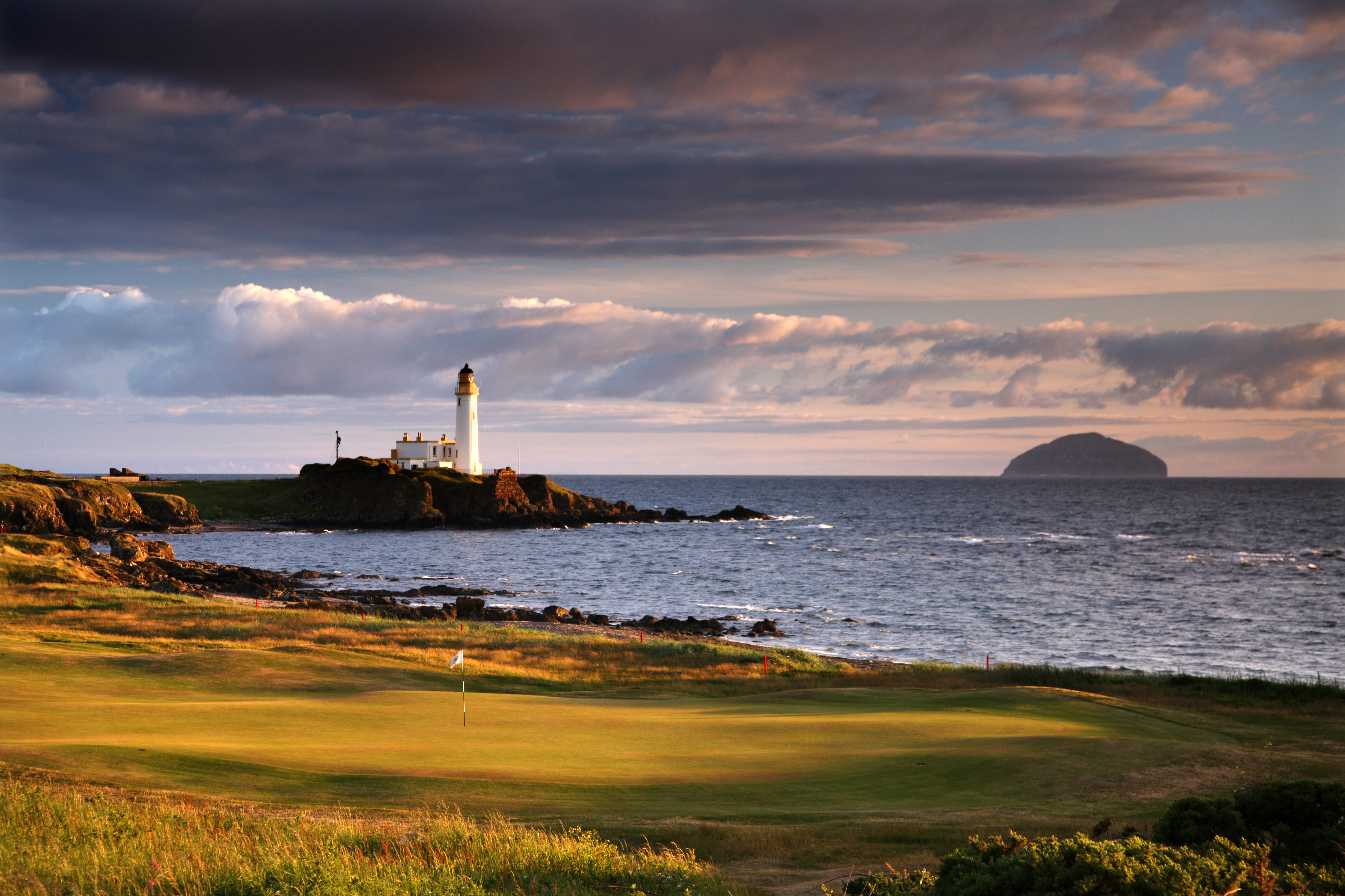 A view from behind the green on the iconic 457-yard, par 4 10th hole on the Ailsa Course at Turnberry.