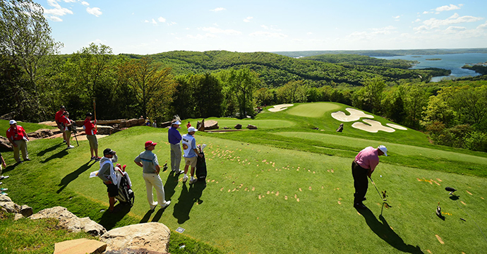 Rocco Mediate tees off on 2nd hole at Top of the Rock course at the 2015 Bass Pro Shops Legends of Golf.