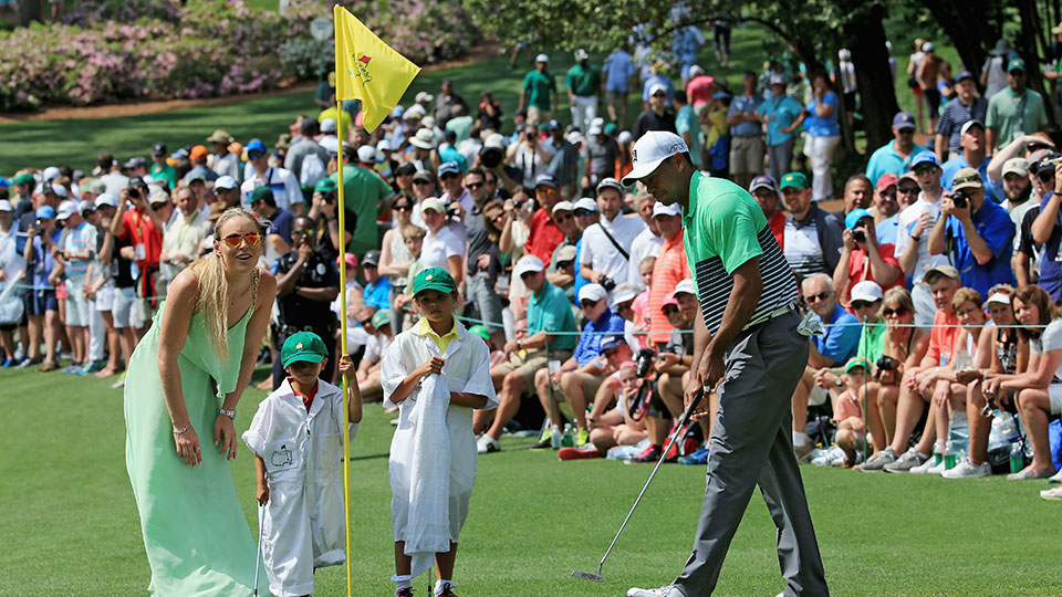 Tiger Woods and Lindsey Vonn during the Par 3 Contest at the Masters.