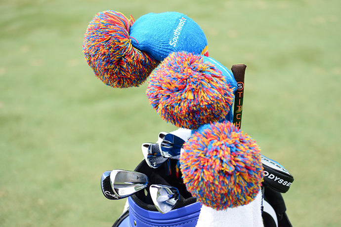 Boo Weekley's Southwest-sponsored bag adds a pop of color to the range.
