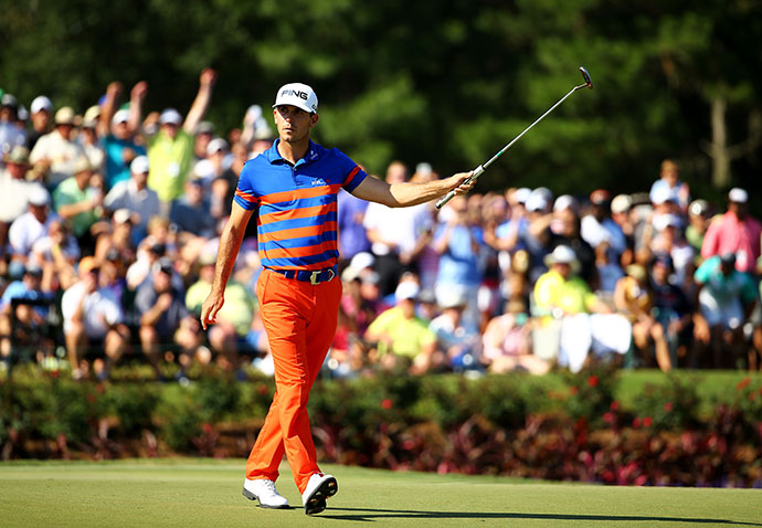 Billy Horschel reacts on the 17th green during round three of THE PLAYERS Championship.