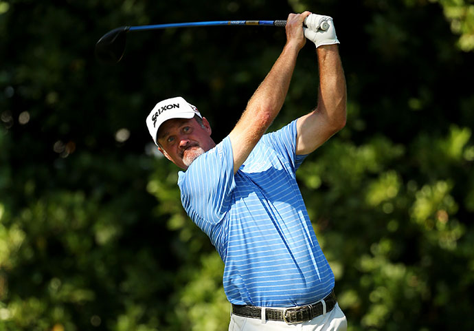 Jerry Kelly plays his shot from the 11th tee during round three of THE PLAYERS Championship.