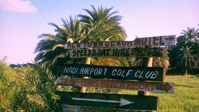 Signs directing visitors to the Nadi Airpot Golf Club, where Vijay Singh learned to play golf.