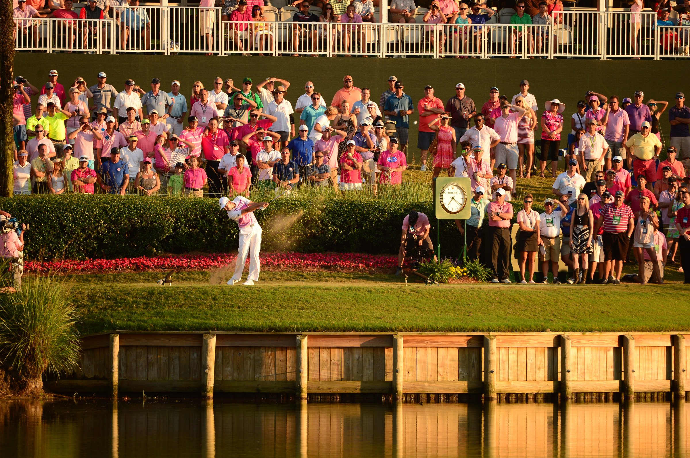 Rickie Fowler tees off on the 17th hole at TPC Sawgrass during the final round of the 2015 Players Championship.