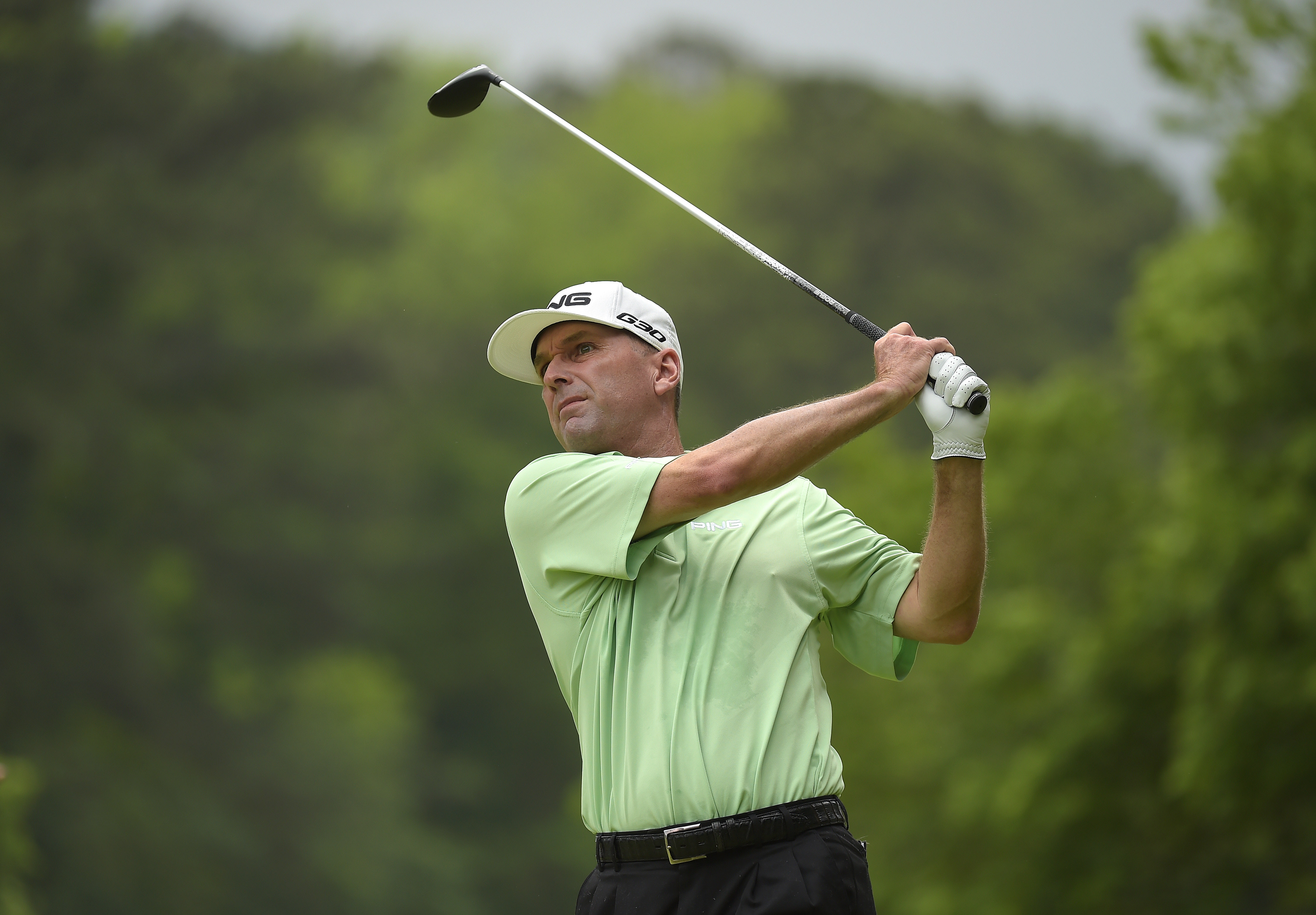 Kevin Sutherland tees off on the 10th hole during the second round of the Champions Tour Regions Tradition.