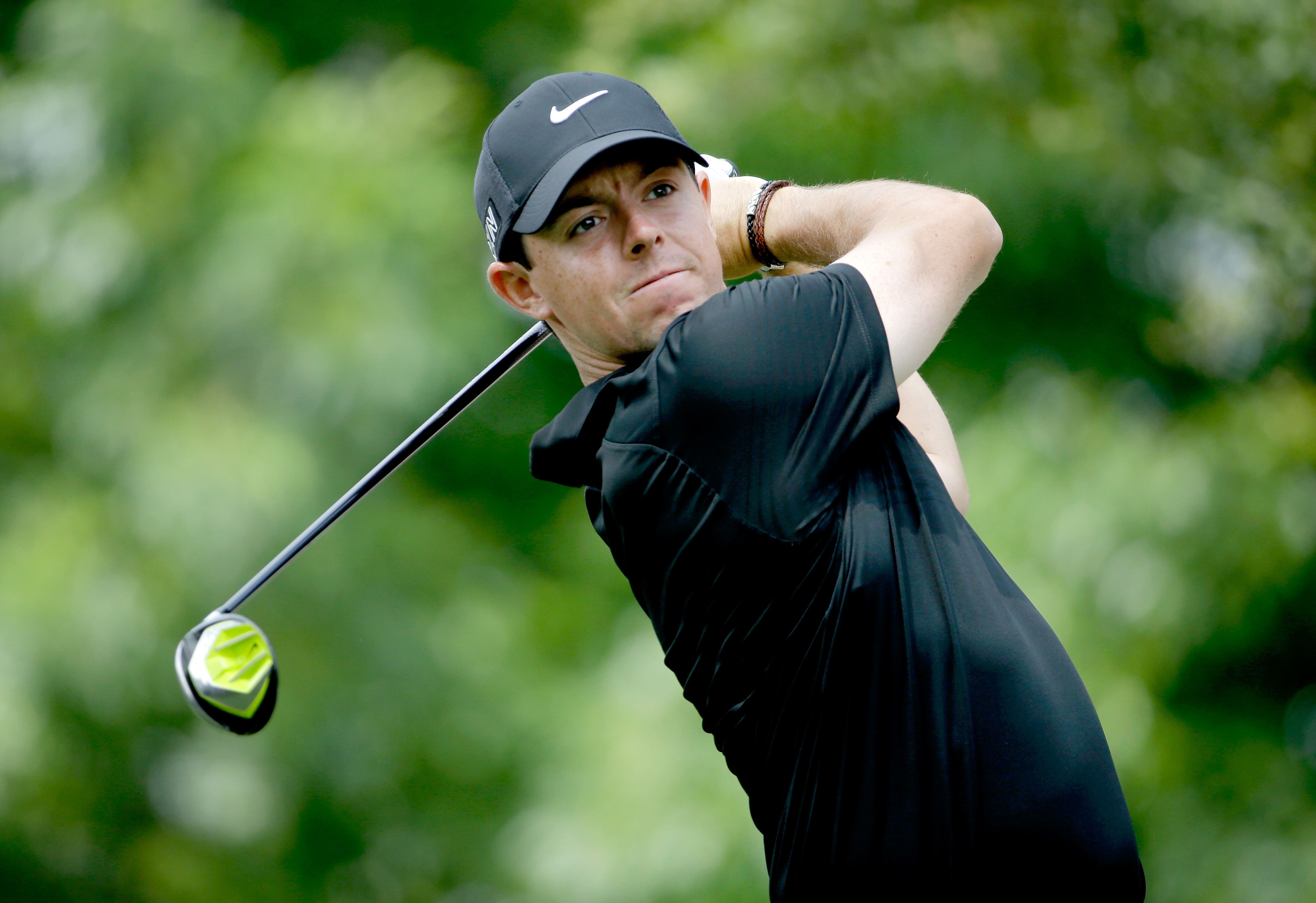 Rory McIlroy tees off on the third hole during the second round of the 2015 Wells Fargo Championship.
