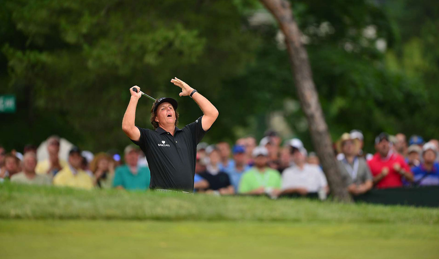 Mickelson held the 54-hole lead at the 2013 Open at Merion, but he shot 74 on Sunday and tied for second, two strokes behind winner Justin Rose. It was Mickelson's record sixth time finishing second at the Open.