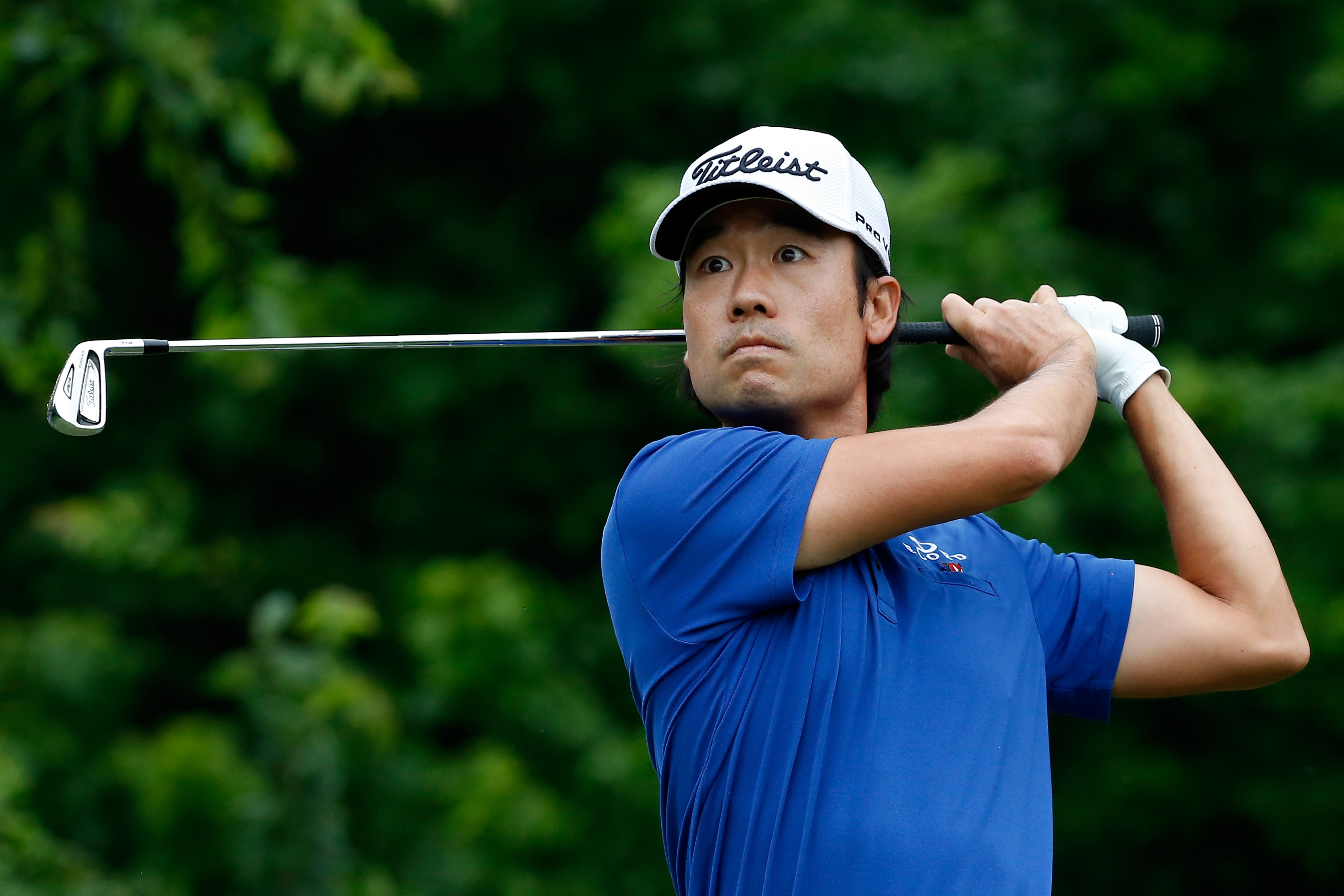 Kevin Na tees off on the eighth hole during the second round of the Crowne Plaza Invitational at the Colonial.