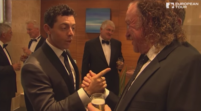 Rory McIlroy tells Miguel Angel Jimenez that Jimenez is his idol prior to Jimenez breaking the European Tour's hole in one record.