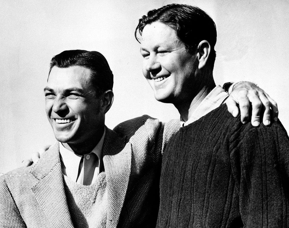 Ben Hogan (left) and Byron Nelson got together for this photo after they tied with a score of 280 at the 1942 Masters.