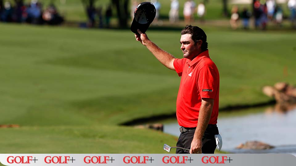Steven Bowditch acknowledges the crowd on the 18th green following his victory at the AT&T Byron Nelson.