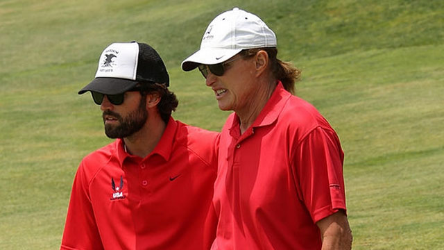 Jenner with her son, Brody, at the third annual Hank Baskett Classic Golf Tournament at Trump National Golf Course on May 5, 2014 in Palos Verdes, California.