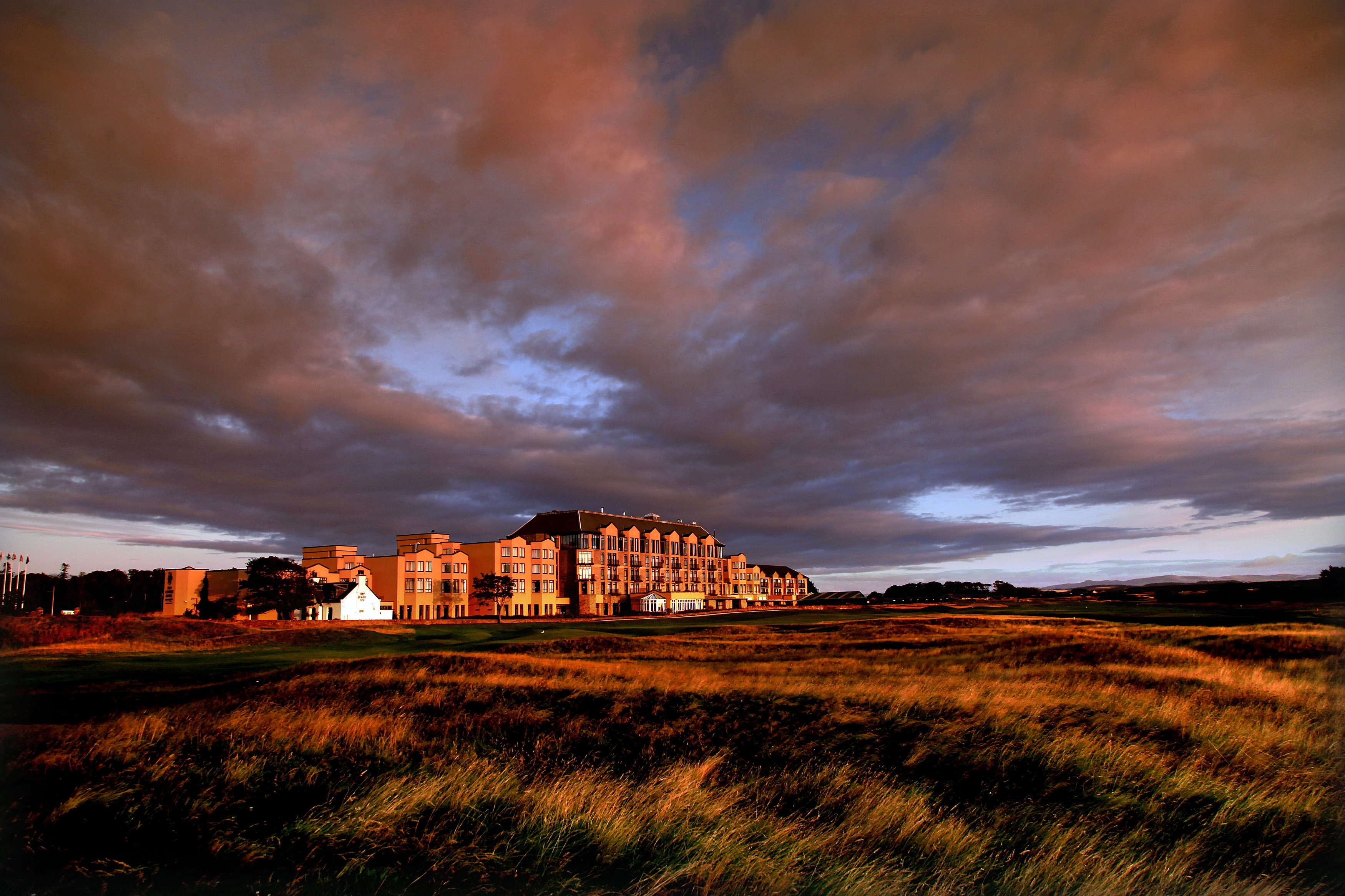 A view of the Old Course Hotel situated along the 17th fairway at St. Andrews.