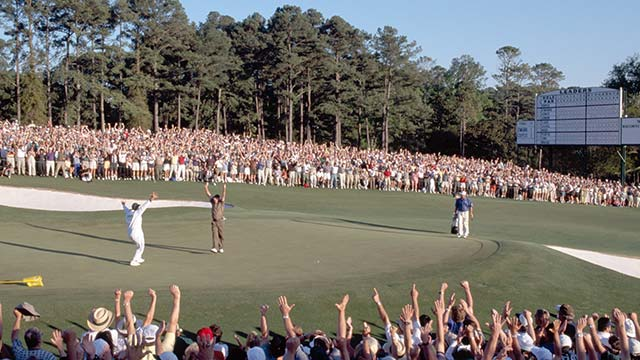 O'Meara celebrates the birdie putt that won him the 1998 Masters.