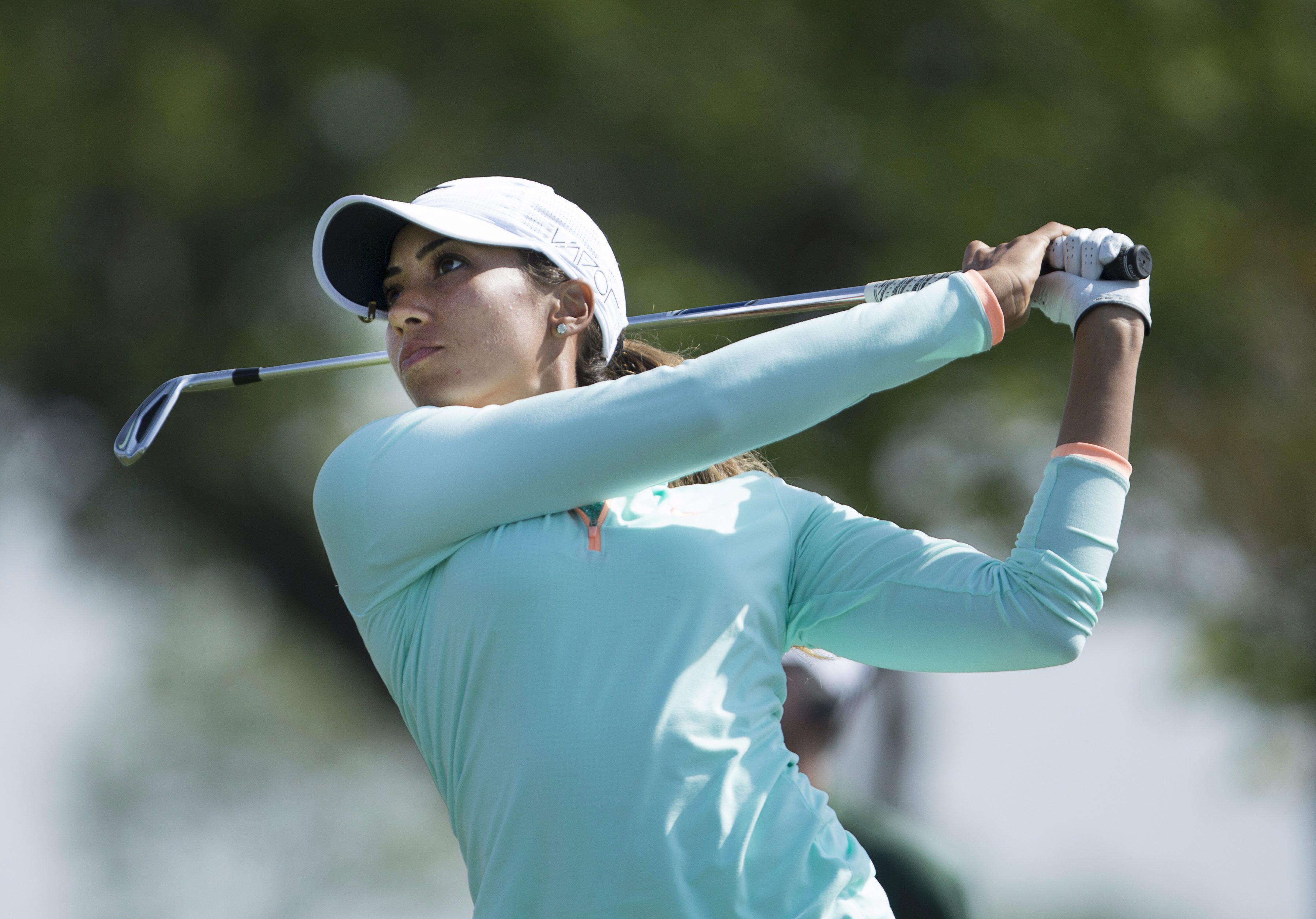 Cheyenne Woods watches her tee shot from the 13th tee during the first round of the Manulife LPGA Classic golf tournament, Thursday, June 4, 2015, in Cambridge, Ontario. (Peter Power/The Canadian Press via