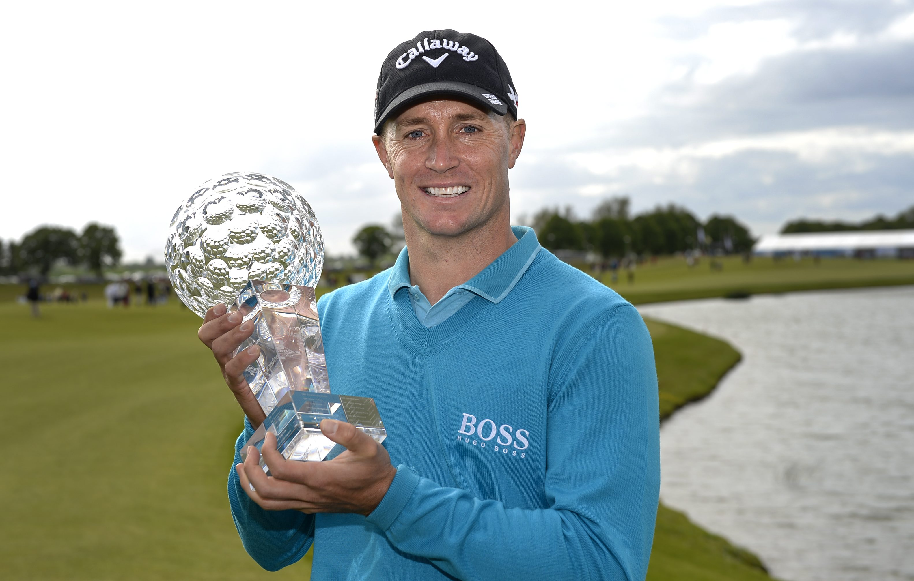 Sweden's Alex Noren poses with the trophy after winning the Nordea Masters at the PGA National Golf Course outside Malmo, Sweden on Sunday, June 6, 2015.