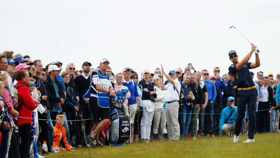Henrik Stenson of Sweden plays his second shot on the second hole of the third round of the Nordea Masters at the PGA Sweden National on June 6, 2015, in Malmo, Sweden. Stenson never got it going on Sunday and finished in a tie for 13th.