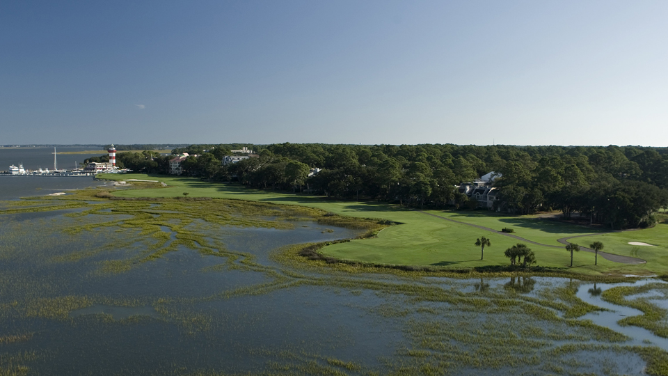A distant view of the 18th hole at Harbour Town Golf Links.